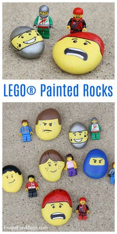 Fun rock painting idea for kids! Paint rocks to match LEGO minifigure faces. Such a fun activity!