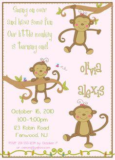 Monkeying Around Birthday Invitation
