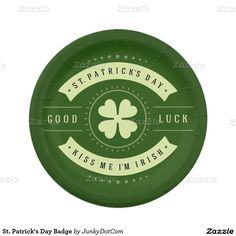 St. Patrick's Day Badge 7 Inch Paper Plate