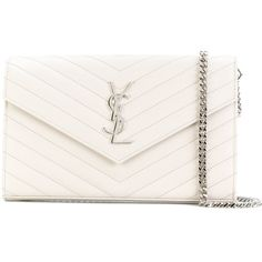 Saint Laurent Monogram chain wallet ($1,550) ❤ liked on Polyvore featuring bags, wallets, white, yves saint laurent wallet, calfskin wallet, chain bags, white envelope clutch bag and chain wallet