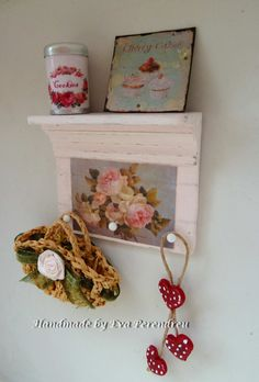 Shabby chic romantic shelf in miniature for dollhouse, pink with roses