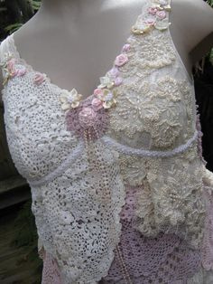 Upstyle inspiration. Lovely hand~created cami.  Lots of beadwork, ribbonry and lace.  From sistersroseandruby on Etsy.