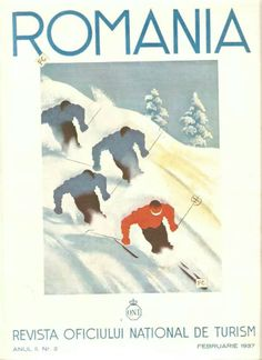 Romania - Anonyme ( Signé FC ?) 1937 Vintage Ski Posters, Vintage Ads, Monstera Deliciosa, Retro, Trivial Pursuit, Bucharest, Prints, Painting, Astrology
