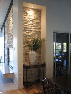 Fireplace done with Cultured Stone Southwest Blend Profit Ledgestone and Creme Marble Hearth by My ♥ ♥ ♥ Interior Walls, Living Room Interior, Home Interior Design, Living Room Decor, Stone Wall Living Room, Living Rooms, Marble Hearth, Hearth Stone, Flur Design
