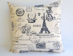 Throw pillows set of two pillow covers 20 x 20 Navy blue and natural Paris print
