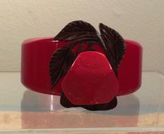 Bakelite Red Clamper Bangle with Carved Wood Pear - Simichrome Tested by CrowsNestAntiques on Etsy