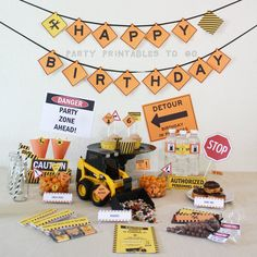 Construction Birthday Printable Party by PartyPrintables2go - Search for more Children Party Themes in our store!!