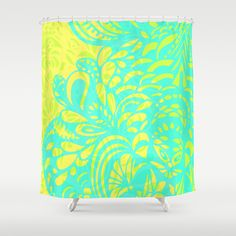 Amorph - lemon & lime Shower Curtain by Cally Creates - $68.00 It's a little bit trippy, like a lava lamp in motion.