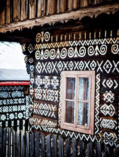Cicmany, a small Slovakian village Bratislava, Balustrades, Le Village, Central Europe, Cottage Homes, Eastern Europe, Pretty Cool, House Painting, Decoration