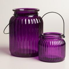 One of my favorite discoveries at WorldMarket.com: Purple Ribbed  Glass Lantern Candleholder