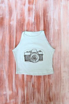 Mint Crop Top With Embroidered Camera-Womens by ZellyaDesigns