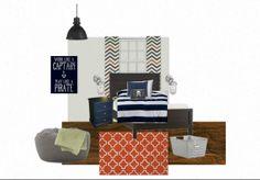 Navy, Orange and Grey Boys Room
