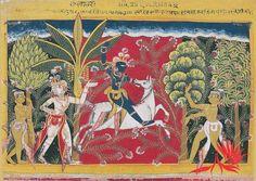 Krishna killing the Horse-Demon, Keshi. Folio from the Issarda Bhagavata Purana series,  Delhi-Agra region, ca.1575.
