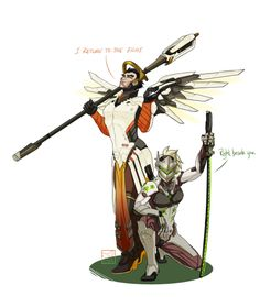 Overwatch Outfit-Swap: Genji and Mercy [Submission by: @kitty-la-wa ] I really wasn't sure how I felt about drawing this, since Genji's outfit is so complex, and Mercy's wings make me nervous. It turned out being a lot of fun though! Mostly because I...
