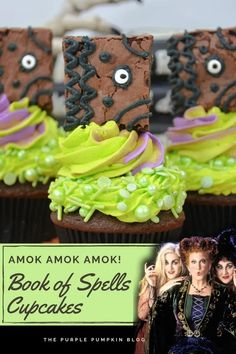 Sisters! It's time to put your magic to work and conjure up these awesome Hocus Pocus Cupcakes, complete with a Book of Spells topper! Chocolate fudge cupcakes are topped with green and purple frosting, and the spellbook is made from a pan of brownies! Halloween is upon us, so get ready to run amok, amok, amok! Halloween Party Drinks, Halloween Cupcakes, Chocolate Fudge Cupcakes, Cheap Halloween Decorations, Purple Pumpkin, Dessert Recipes For Kids, Spooky Treats, Gel Food Coloring, Easy Cocktails