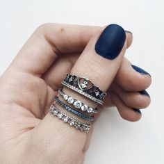 sterling silver ringset with Zn. oxidized. Goes well with Pandora bracelet