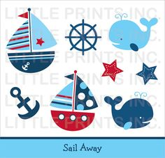 Sail Away Nautical Clip Art INSTANT DOWNLOAD