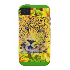 Environmental decorative iphone case cover with a beautiful golden leopard in the cente rof a golden sunflower.