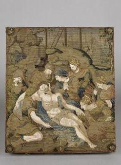 La Déploration du Christ, corporalier, France, vers 1550. Artiste: anonyme, d'après JEAN COUSIN. Descendu de la Croix (visible à l'arrière-plan), le corps du Christ est déposé sur un linceul par Joseph d'Arimathie et Nicodème; saint Jean, la Vierge et les saintes femmes expriment leur douleur avant d'oindre le corps. Cette broderie orne en fait une boîte, également brodée sur les côtés, destinée à accueillir le linge dont le prêtre enveloppe ses mains pour élever l'hostie, ou corporal. ..