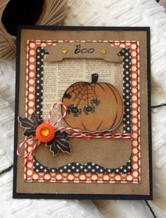 fun Halloween card on craft with reused paper, patterned paper, at pumpking cut out...