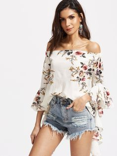 Floral Print Chiffon Blouse Women Casual Tops Off Shoulder Flare Sleeve Swing Female Blouse Shirt Sexy Loose Party Blusas White Bell Sleeve Blouse, Bell Sleeve Top, Chemises Sexy, Floral Tops, Floral Blouse, Ruffle Blouse, Look 2015, Moda Outfits, Fall Outfits