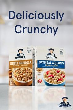 Start your mornings withQuaker®OatmealSquares and SimplyGranola! Enjoy the richflavors and benefits of38-46g of wholegrains per servingthat'll helpfuel your day. Vegan Recipes Videos, Keto Recipes, Vegetarian Recipes, Snack Recipes, Cranberry Coffee Cake Recipe, Oatmeal Squares, Honey Almonds, Apples To Apples Game, Healthy Pizza