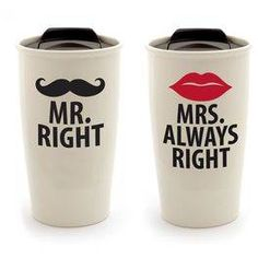 Our Name is Mud Mr. & Mrs. Travel Mugs, Set of 2,