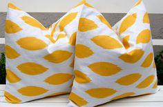 Decorative Pillow Covers Yellow Ikat Throw Pillows Cushion Covers 20 x 20 Inches Corn Yellow and White Chipper. $34.00, via Etsy.