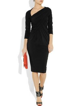 Great Donna Karan stretch-jersey dress.  Love the asymmetrical neckline!
