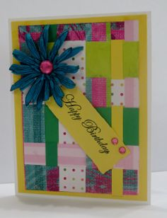 Handmade birthday card.  Patchwork in pinks, greens and blue.  Great way to use scraps!