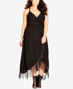 Sweep the style game with the boho look of this plus size fringe dress City Chic! | Viscose; lining: polyester | Dry clean | Imported | V-neckline    | Pullover styling    | Spaghetti straps  | Empire