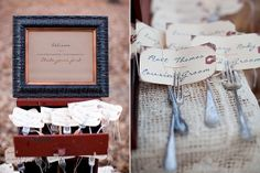 Vintage inspired place cards #wedding