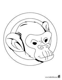 Monkey's head coloring page. There is a new Monkey's head in coloring sheets section. Check it out in JUNGLE ANIMALS coloring pages! Animal Coloring Pages, Coloring Sheets, Jungle Animals, Wild Animals, Monkey, Portrait, Fictional Characters, Art, Monkeys