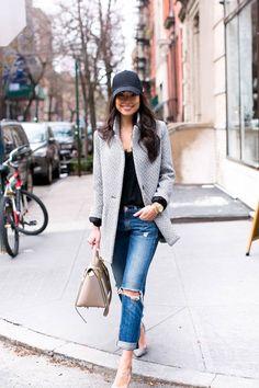 Baseball Cap on Bank Street - Maje coat // Cami tank // Rag & Bone jeans Jean Michel-Cazabat heels // Gents hat Jennifer Zeuner necklace // Celine bag Monday, March 21, 2016