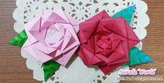 [종이 접기] 쉬운 장미 꽃, 나뭇잎 접는 방법 :: 슈랄라 월드