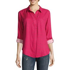 Liz Claiborne Long Sleeve Y Neck Woven Blouse-Talls (3130 RSD) ❤ liked on Polyvore featuring tops, blouses, liz claiborne, long sleeve tops, tall blouses, long sleeve blouse and pink blouse