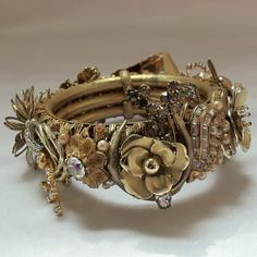 Vintage Bangle, Statement bracelet adorned with vintage rhinestone jewelry, Gold setting, Haute Couture Stunning
