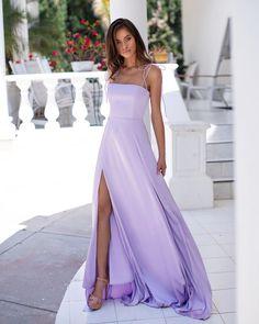 High Slit A Line Prom Dress, Simple Lavender Prom Dresses, Long Evening Dress Lavender Prom Dresses, Pretty Prom Dresses, A Line Prom Dresses, Beautiful Dresses, Lilac Dress Long, Lavender Dress Formal, Purple Grad Dresses, A Line Dress Formal, Simple Prom Dress