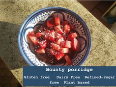 This Bounty Porridge makes a delicious creamy, chocolatey breakfast that is gluten free, dairy free, refined sugar free and plant based. Free Plants, Fruit Salad, Gluten Free Recipes, Free Food, Sugar Free, Plant Based, Dairy Free, Sweets, Meals