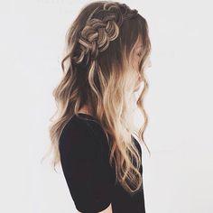 Omber beach waves hair with dutch braid #gorgeoushair
