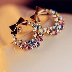 New Women's Fashion Crystal Imitation Colorful Rhinestone Bow Earrings Vintage Jewelry wholesale bow stud earrings Jewelry Design Earrings, Bow Earrings, Ear Jewelry, Rhinestone Jewelry, Rhinestone Bow, Cute Jewelry, Crystal Earrings, Fashion Earrings, Vintage Jewelry