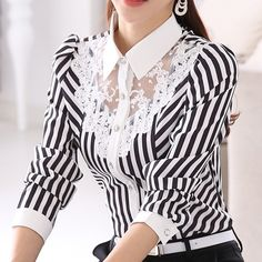2017 New Women Lace Blouses Long Sleeve Lapel Striped Shirt Casual Fashion OL Work Tops Blusas Femininas Plus Size . Formal Blouses, Lace Blouses, Formal Shirts, Blouses 2017, Mode Pop, Camisa Formal, Striped Long Sleeve Shirt, Striped Shirts, Striped Tops