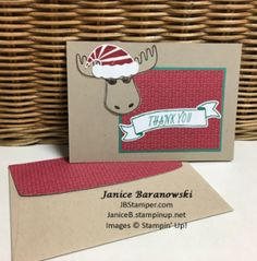 #JBStamper, Jolly Friends, Jolly Hat Builder punch, Bunch of Banners framelits, Crumb Cake notecards & envelopes, thank-you-jolly-friends-red-on-grn