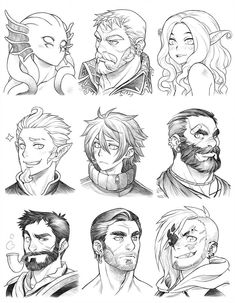 160628 - Headshot Commissions Sketch Dump 20 by Runshin - Trend Illustration Design 2019 Character Design Cartoon, Character Design References, Character Drawing, Character Design Inspiration, Character Concept, Character Sketches, Manga Drawing, Drawing Sketches, Art Drawings