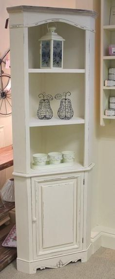 Cream Country Corner UnitBeautiful Free Standing French Style Unit With Cupboard 3 Shelves Made From Wood Ornate Features Carvings In