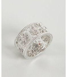 Judith Ripka White Sapphire and Silver Wide Fleur Band - Lyst