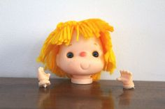 Vintage Yarn Doll Head with Hands 3 Light Orange by NookCove, $8.99