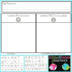 Little Literacy Learners: Introducing Letters and Sounds-Names, including free printable Letters in and not in my name