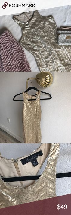 Urban Outfitters Honey Punch Gold Sequence Dress The perfect holiday sexy dress! Gold sequence racerback body von dress by Honey Punch sold at Urban Outfitters Honey Punch Dresses