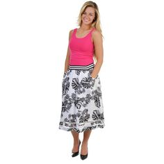J.O.A. Black and White Palm Leaf Midi Skirt -   -  Sophie May Clothing  - 1